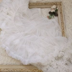 Vintage Retro White 1950s Petticoat Slip sz m